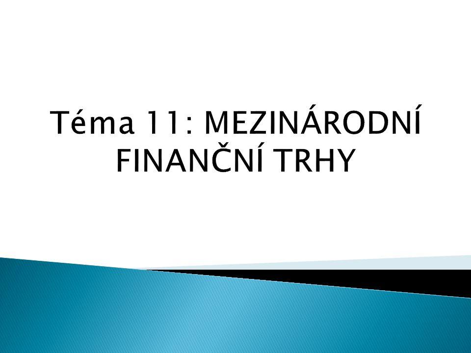Téma 11: MEZINÁRODNÍ FINANČNÍ TRHY