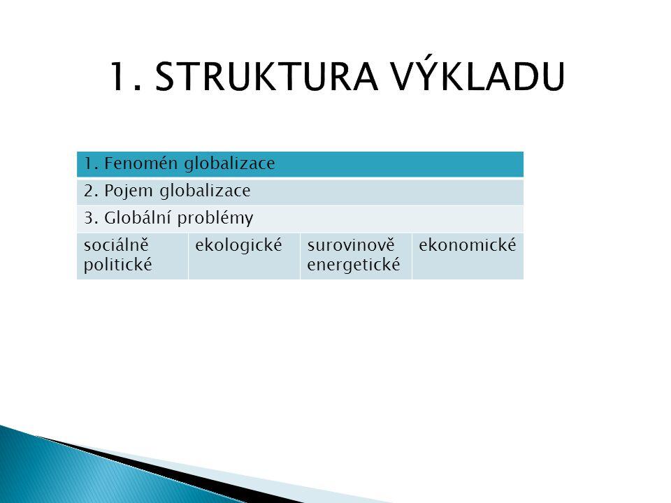 1. STRUKTURA VÝKLADU 1. Fenomén globalizace 2. Pojem globalizace