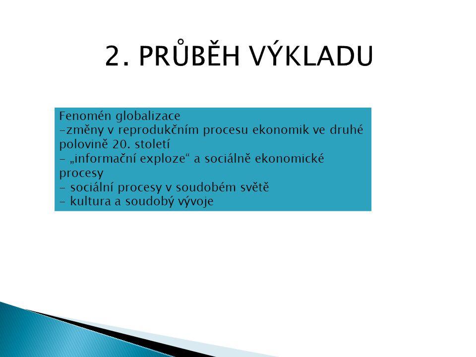 2. PRŮBĚH VÝKLADU Fenomén globalizace
