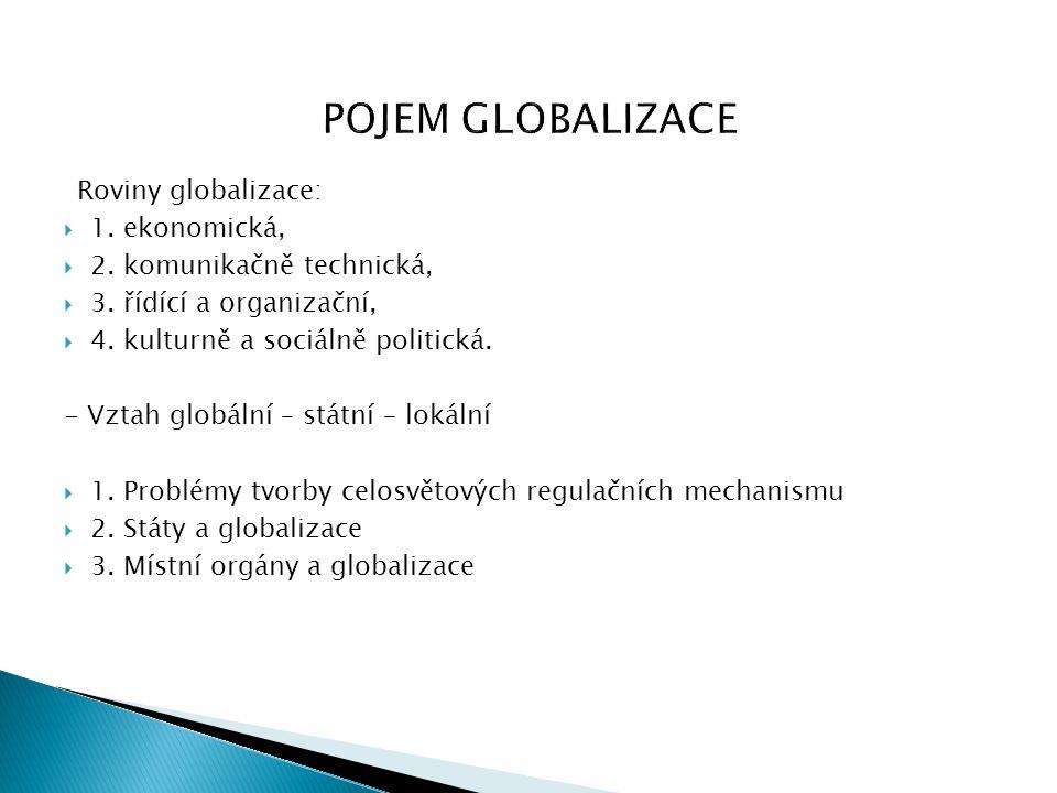 POJEM GLOBALIZACE Roviny globalizace: 1. ekonomická,