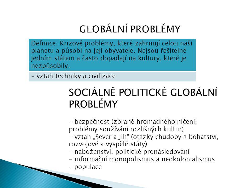 SOCIÁLNĚ POLITICKÉ GLOBÁLNÍ PROBLÉMY