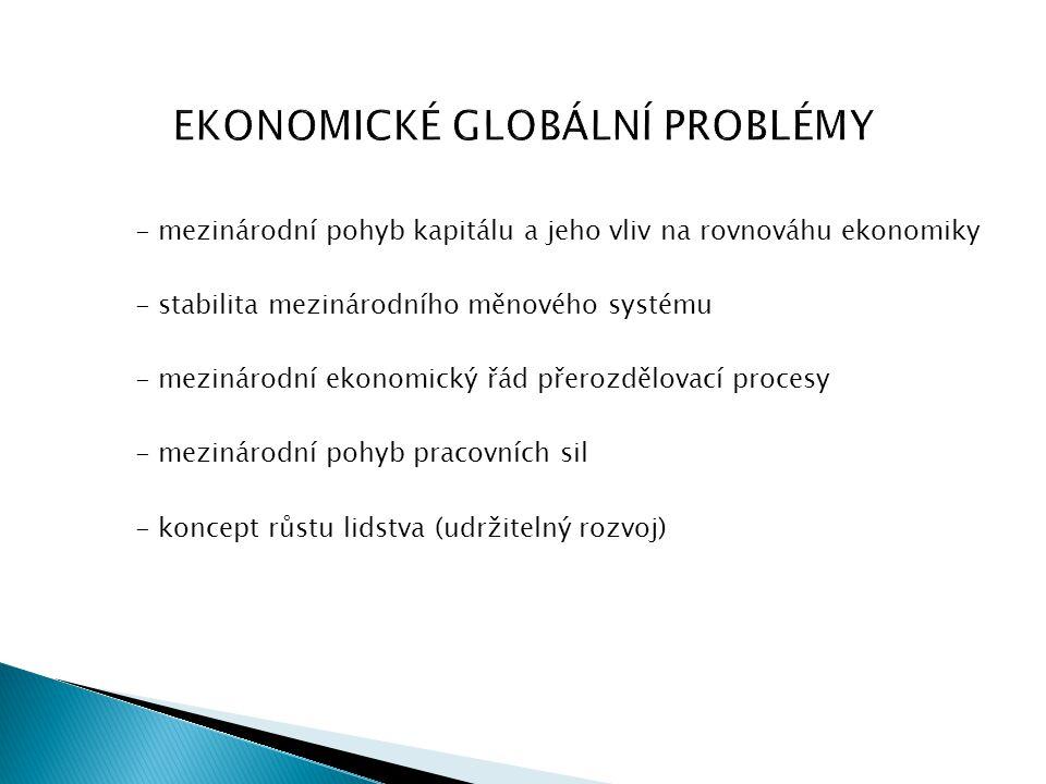 EKONOMICKÉ GLOBÁLNÍ PROBLÉMY