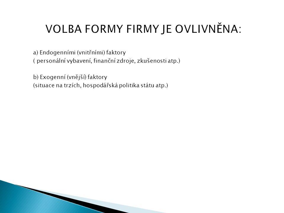 VOLBA FORMY FIRMY JE OVLIVNĚNA: