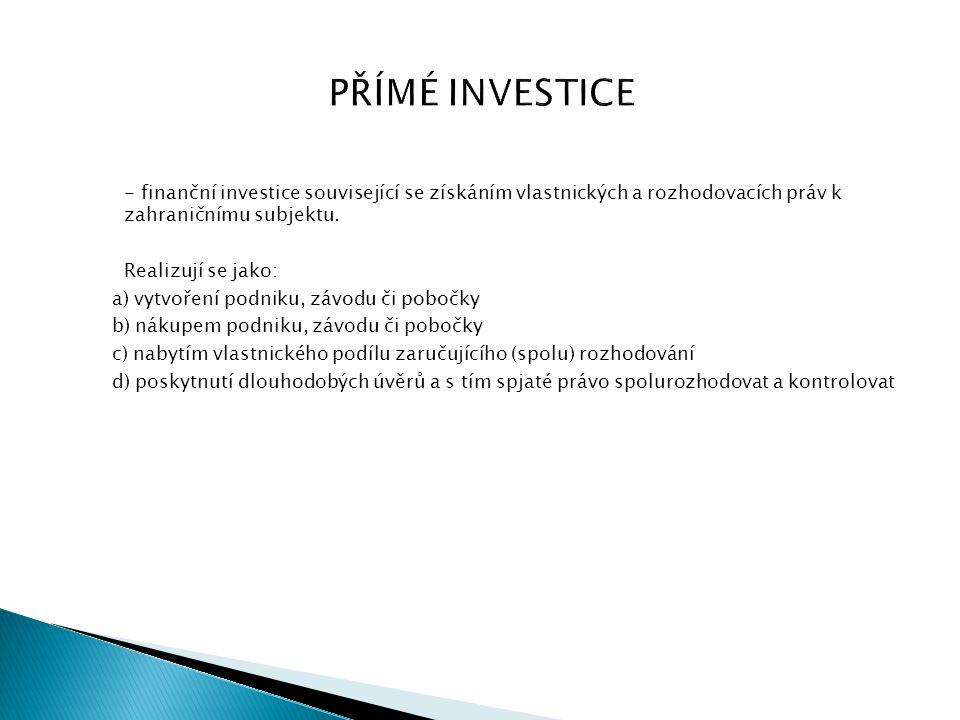 PŘÍMÉ INVESTICE - finanční investice související se získáním vlastnických a rozhodovacích práv k zahraničnímu subjektu.