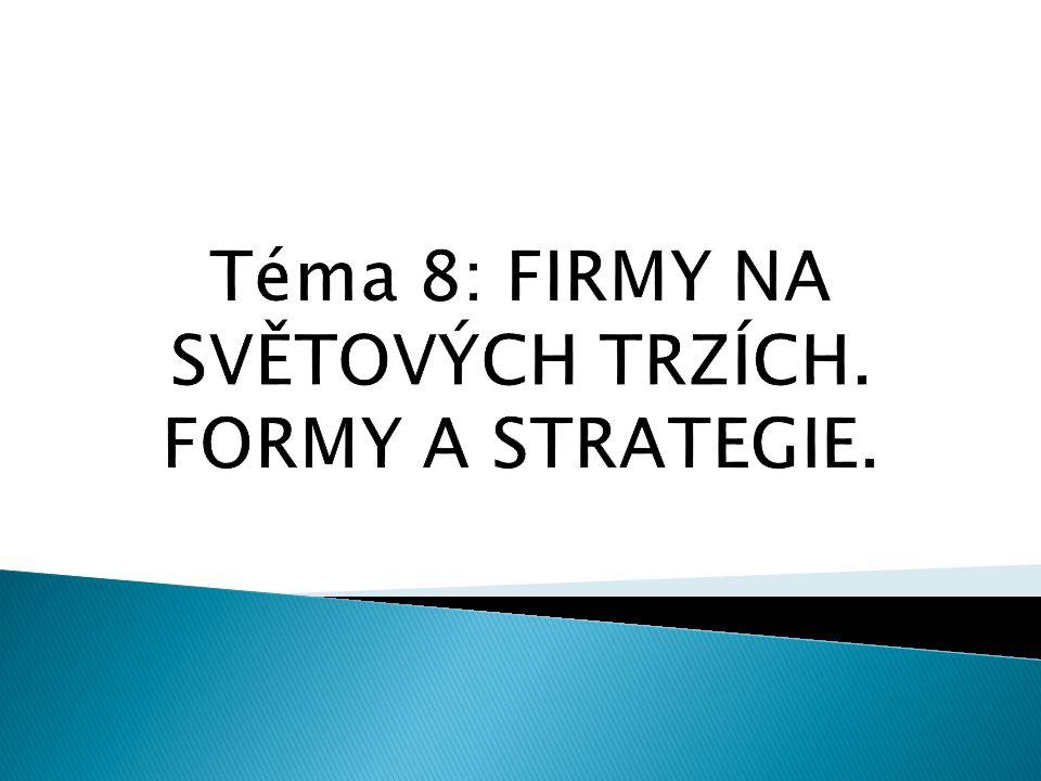 Téma 8: FIRMY NA SVĚTOVÝCH TRZÍCH. FORMY A STRATEGIE.