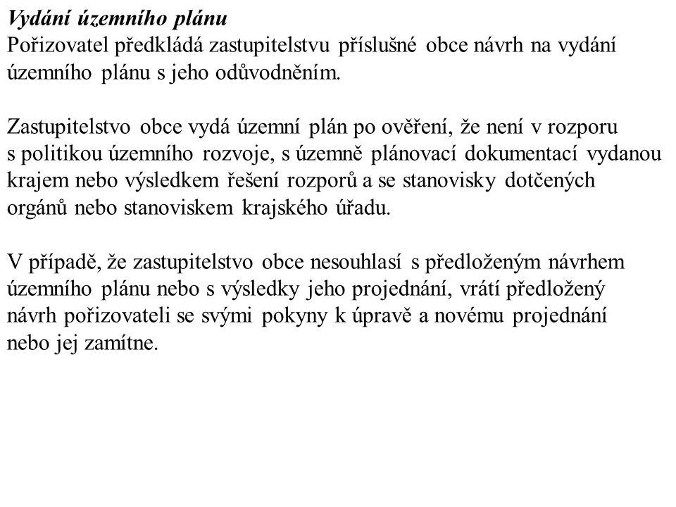 Vydání územního plánu Pořizovatel předkládá zastupitelstvu příslušné obce návrh na vydání. územního plánu s jeho odůvodněním.
