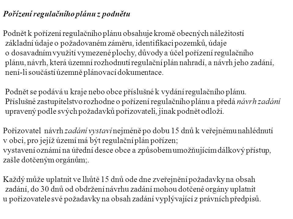 Pořízení regulačního plánu z podnětu