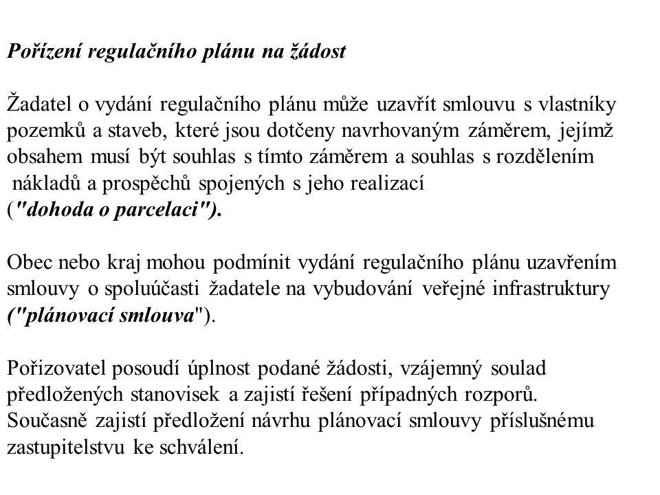 Pořízení regulačního plánu na žádost