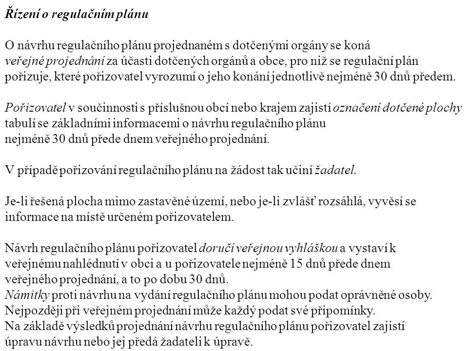 Řízení o regulačním plánu