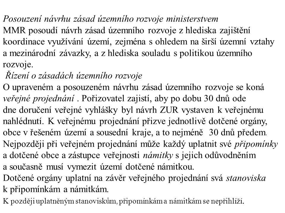 Posouzení návrhu zásad územního rozvoje ministerstvem