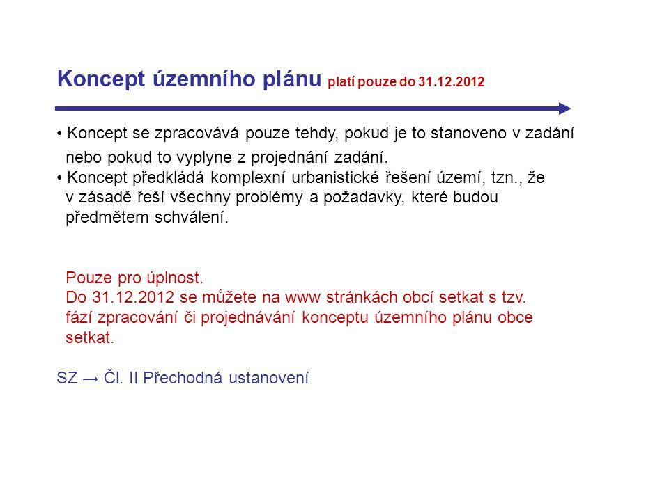 Koncept územního plánu platí pouze do 31.12.2012