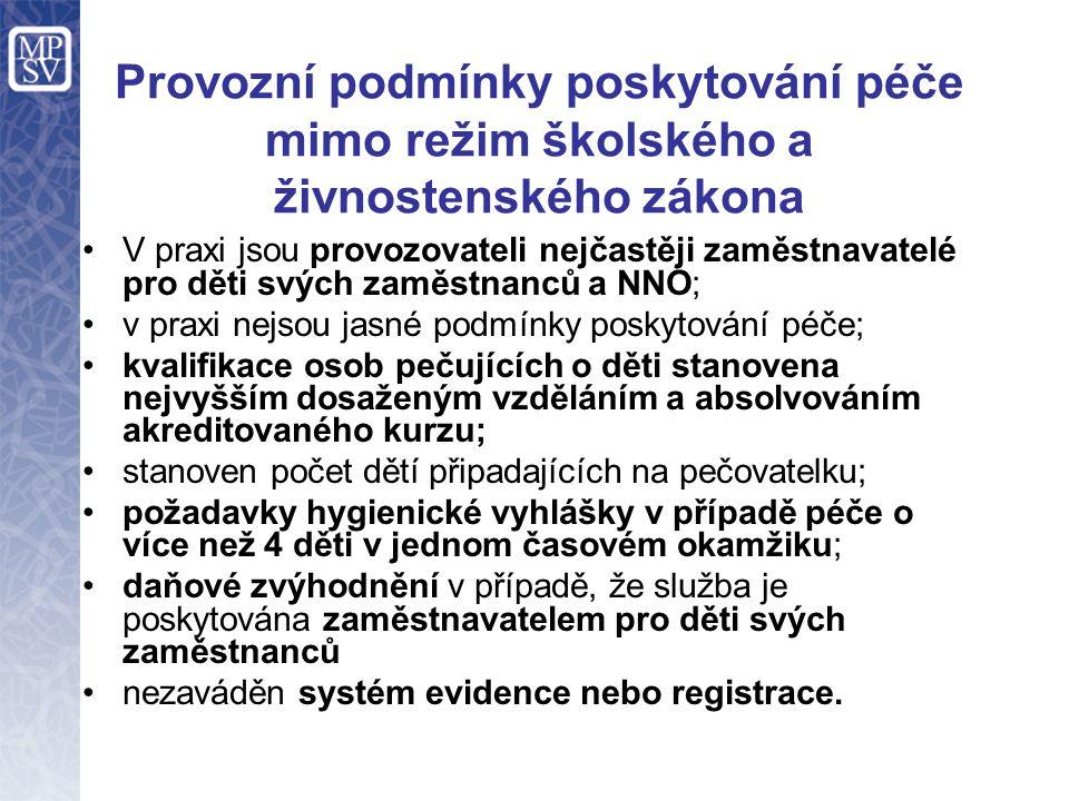 Provozní podmínky poskytování péče mimo režim školského a živnostenského zákona