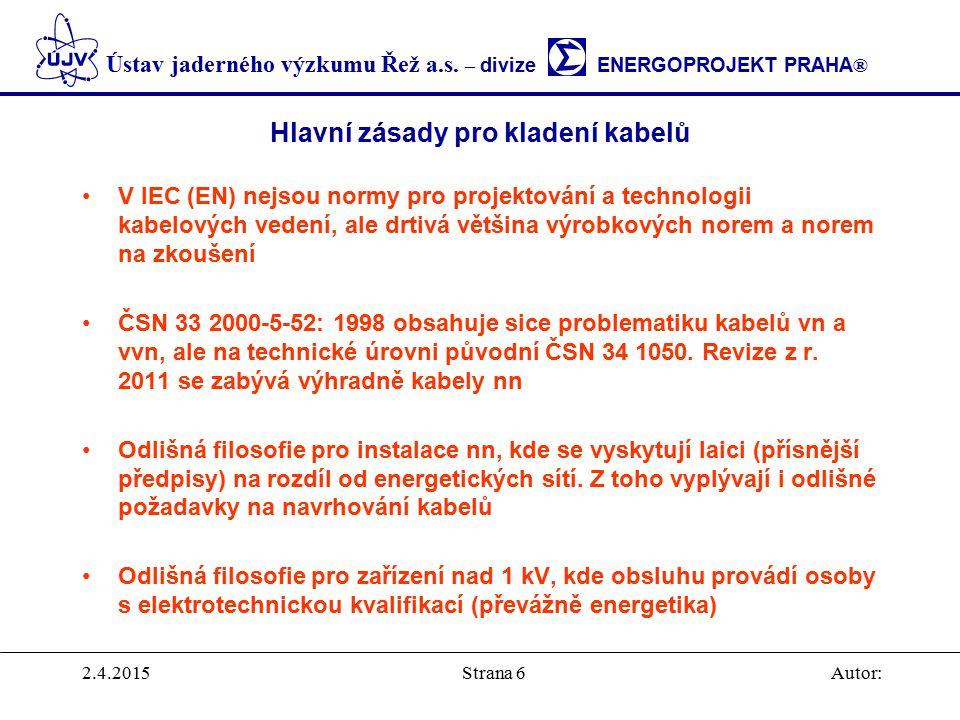 Hlavní zásady pro kladení kabelů
