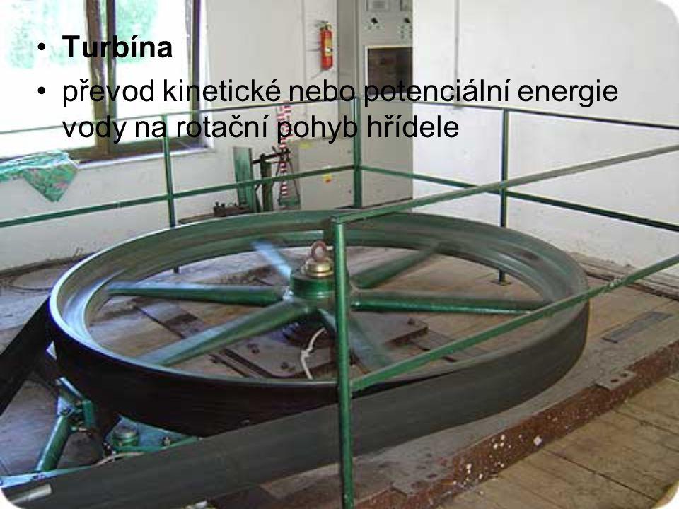Turbína převod kinetické nebo potenciální energie vody na rotační pohyb hřídele