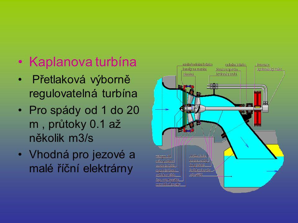 Kaplanova turbína Přetlaková výborně regulovatelná turbína