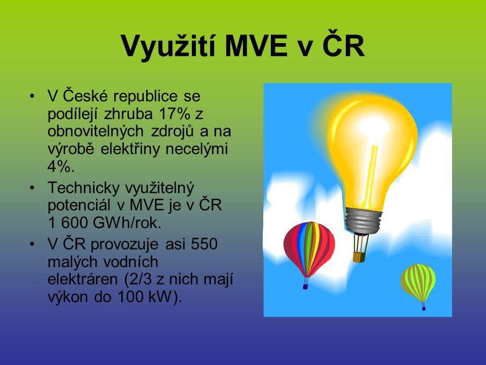 Využití MVE v ČR V České republice se podílejí zhruba 17% z obnovitelných zdrojů a na výrobě elektřiny necelými 4%.