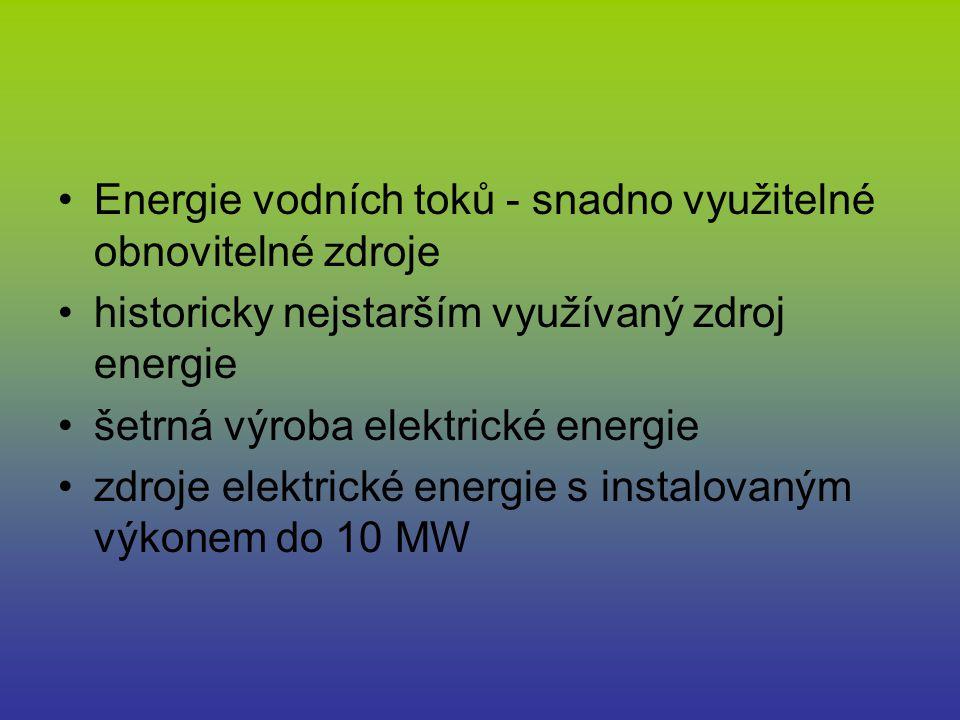 Energie vodních toků - snadno využitelné obnovitelné zdroje