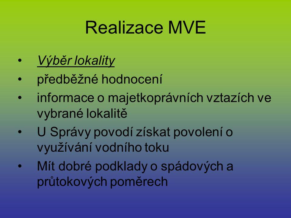 Realizace MVE Výběr lokality předběžné hodnocení