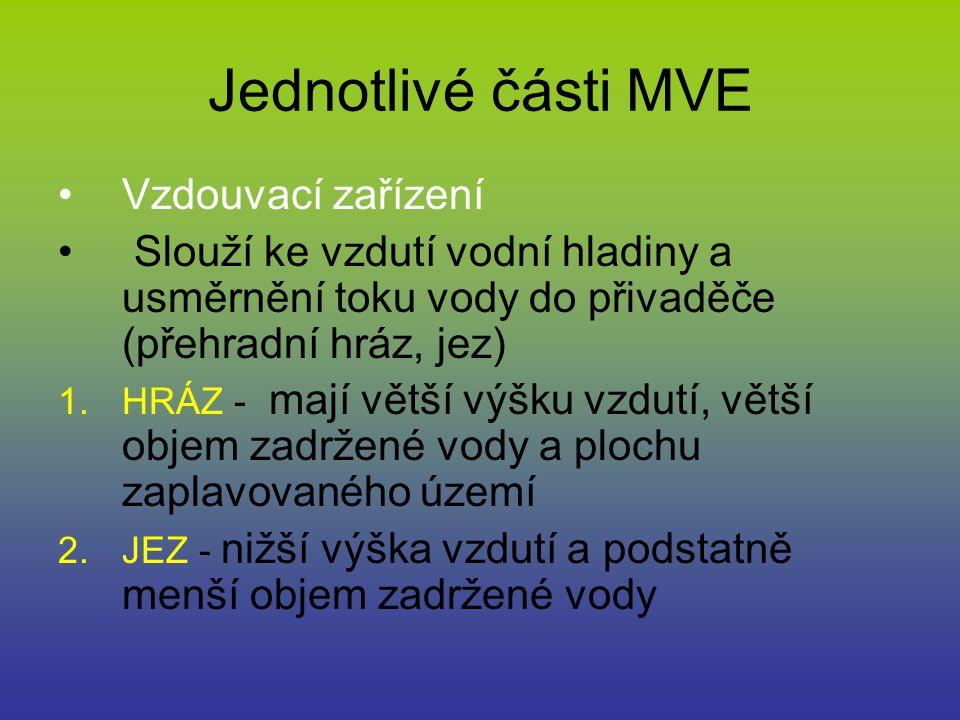 Jednotlivé části MVE Vzdouvací zařízení
