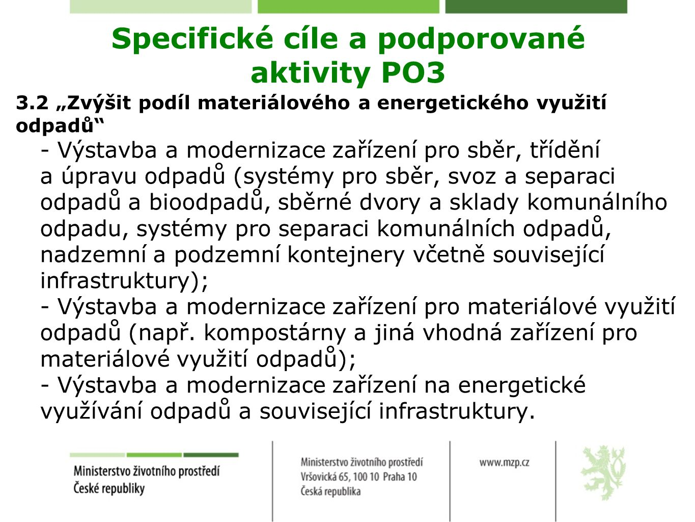 Specifické cíle a podporované aktivity PO3