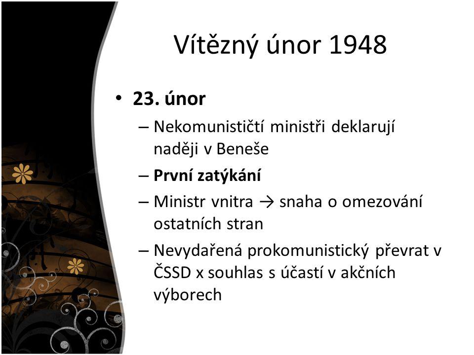 Vítězný únor 1948 23. únor. Nekomunističtí ministři deklarují naději v Beneše. První zatýkání. Ministr vnitra → snaha o omezování ostatních stran.