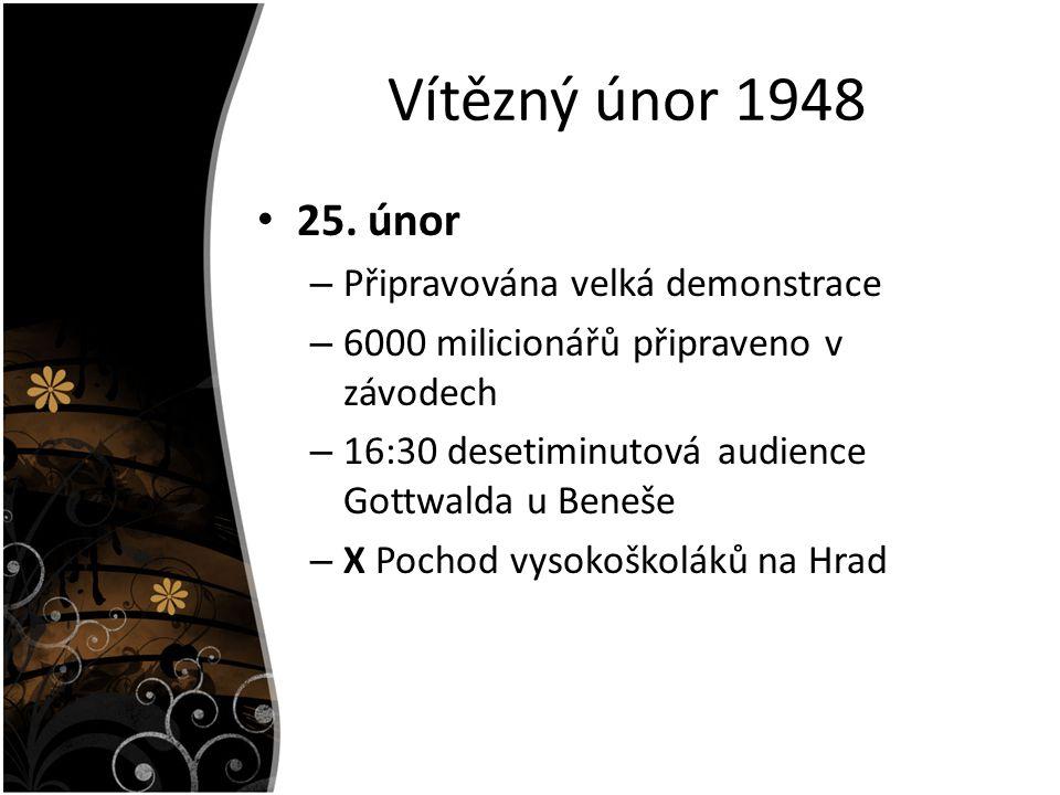 Vítězný únor 1948 25. únor Připravována velká demonstrace