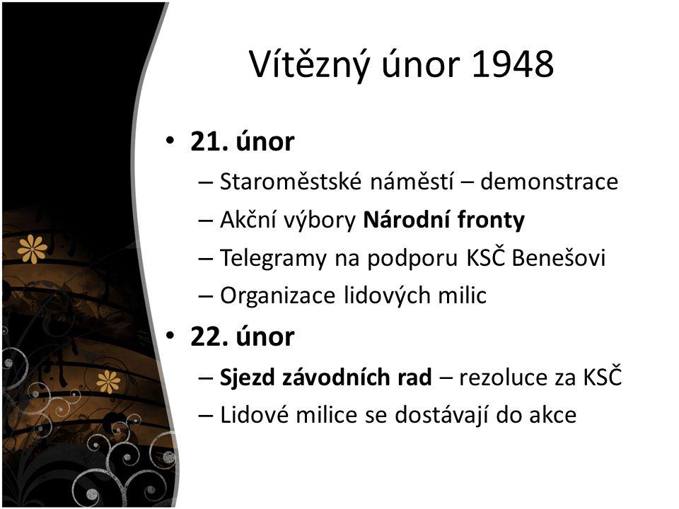 Vítězný únor 1948 21. únor 22. únor Staroměstské náměstí – demonstrace