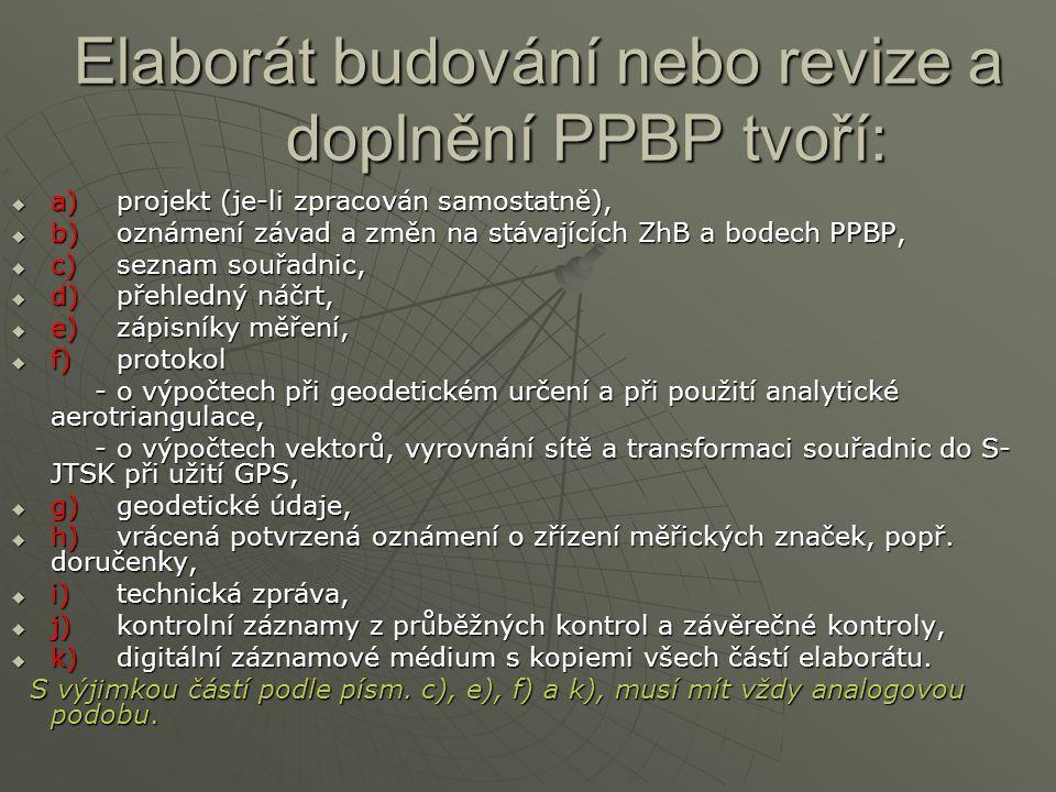 Elaborát budování nebo revize a doplnění PPBP tvoří:
