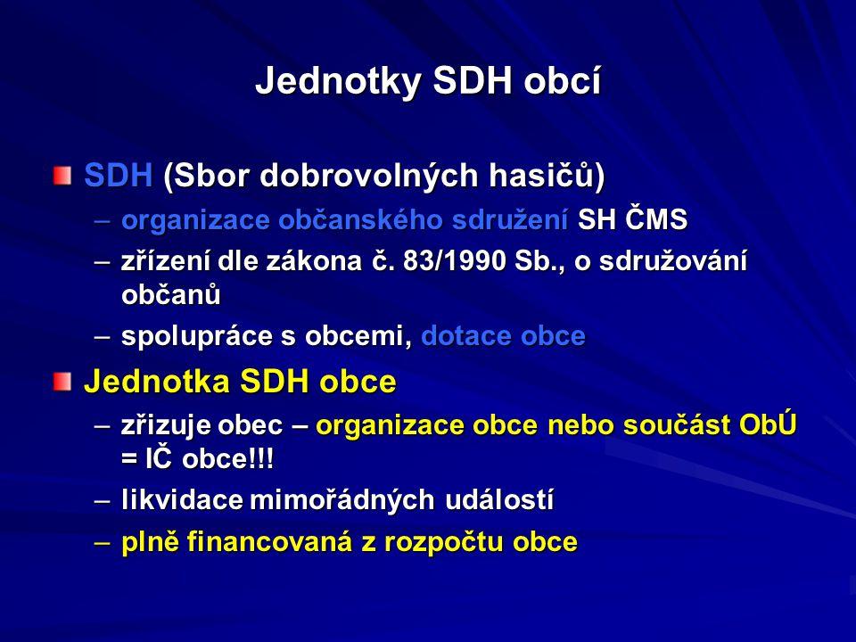 Jednotky SDH obcí SDH (Sbor dobrovolných hasičů) Jednotka SDH obce