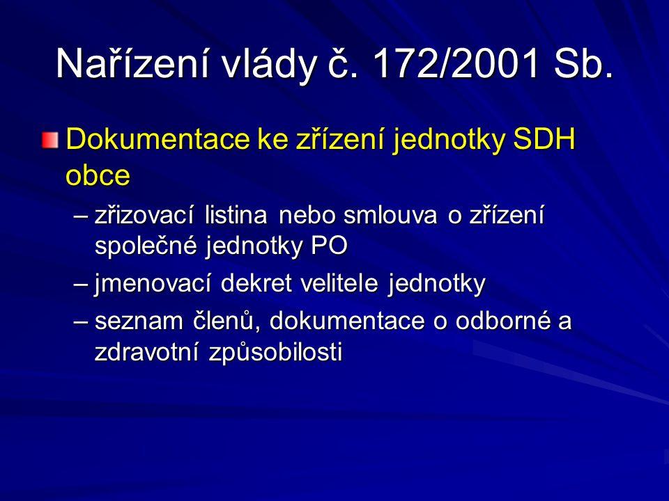 Nařízení vlády č. 172/2001 Sb. Dokumentace ke zřízení jednotky SDH obce. zřizovací listina nebo smlouva o zřízení společné jednotky PO.