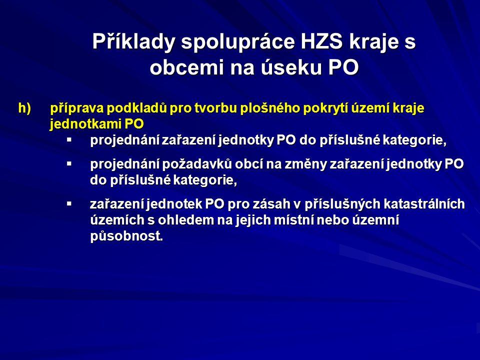 Příklady spolupráce HZS kraje s obcemi na úseku PO