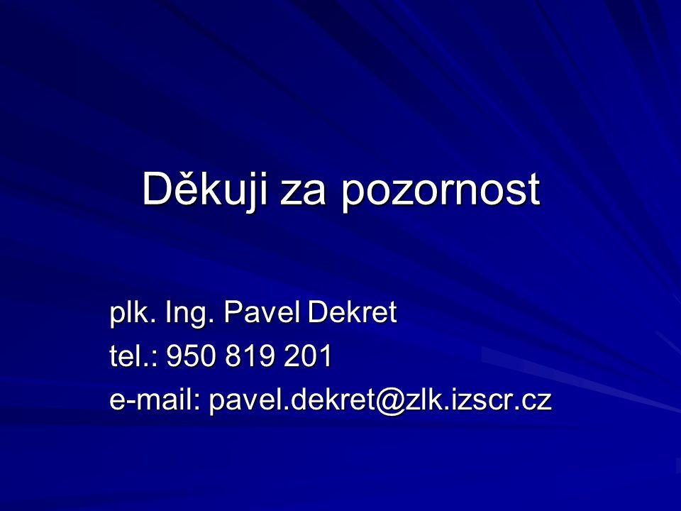 Děkuji za pozornost plk. Ing. Pavel Dekret tel.: 950 819 201