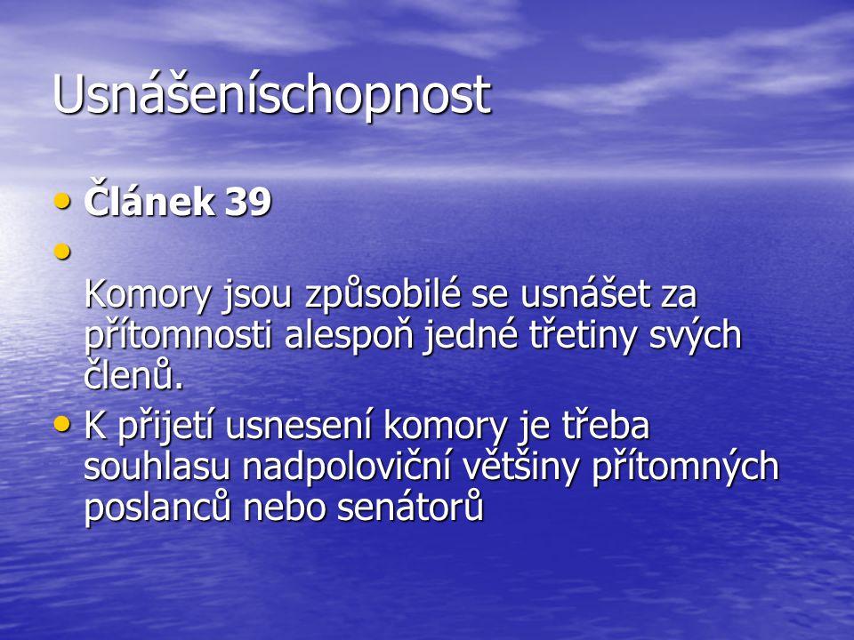 Usnášeníschopnost Článek 39