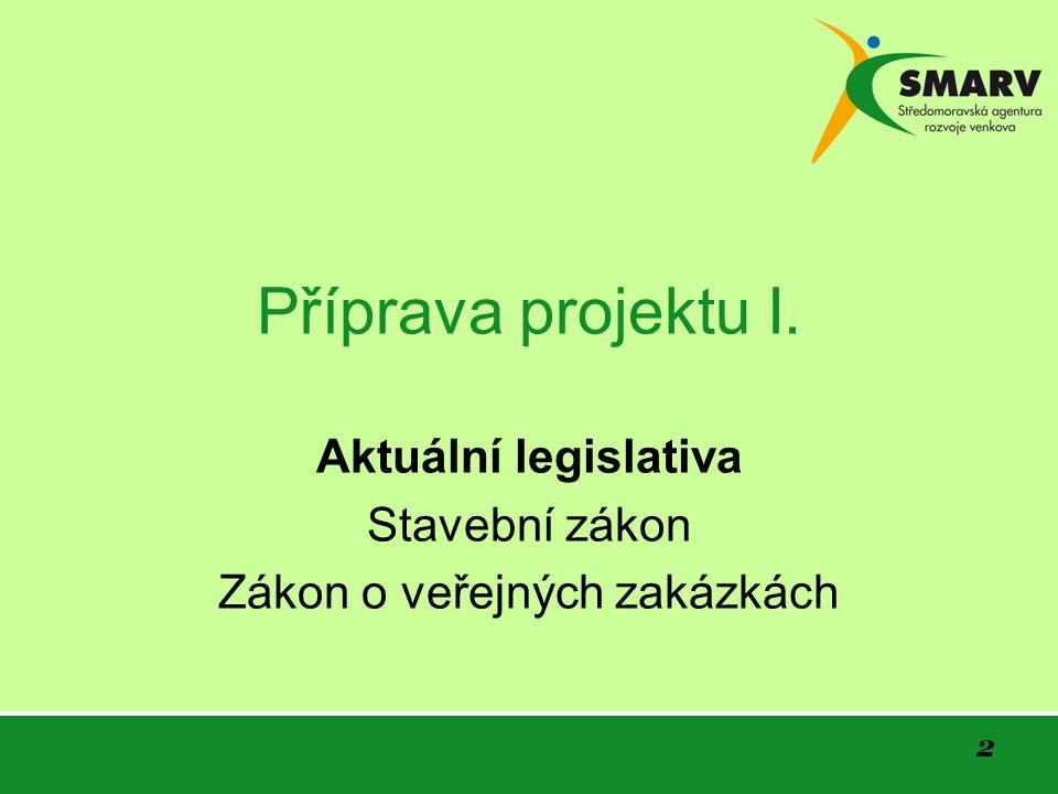 Aktuální legislativa Stavební zákon Zákon o veřejných zakázkách