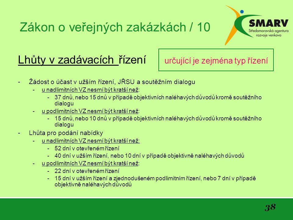 Zákon o veřejných zakázkách / 10