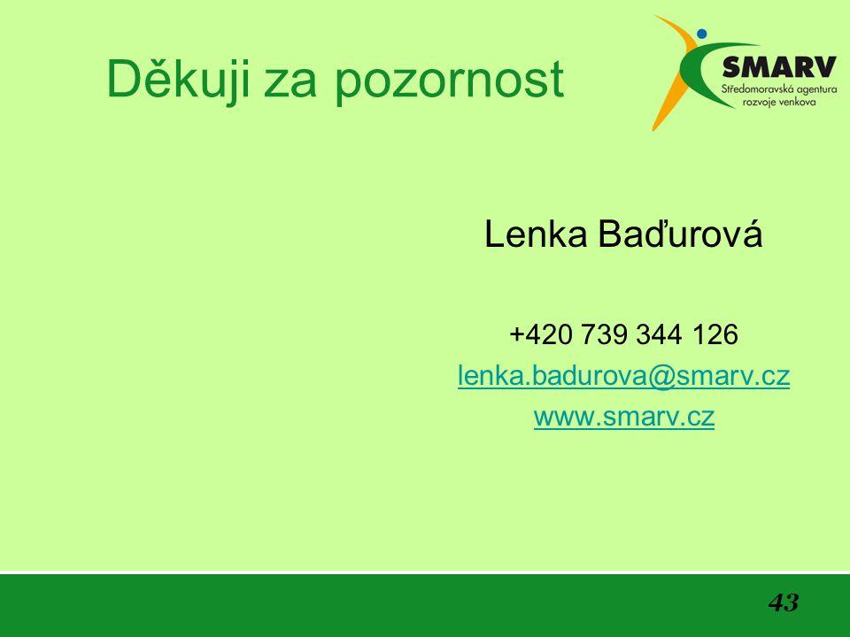Děkuji za pozornost Lenka Baďurová +420 739 344 126