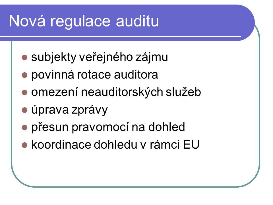 Nová regulace auditu subjekty veřejného zájmu povinná rotace auditora