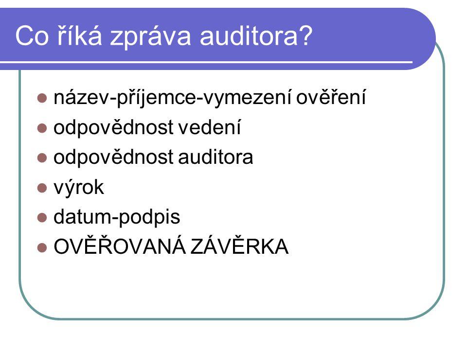 Co říká zpráva auditora