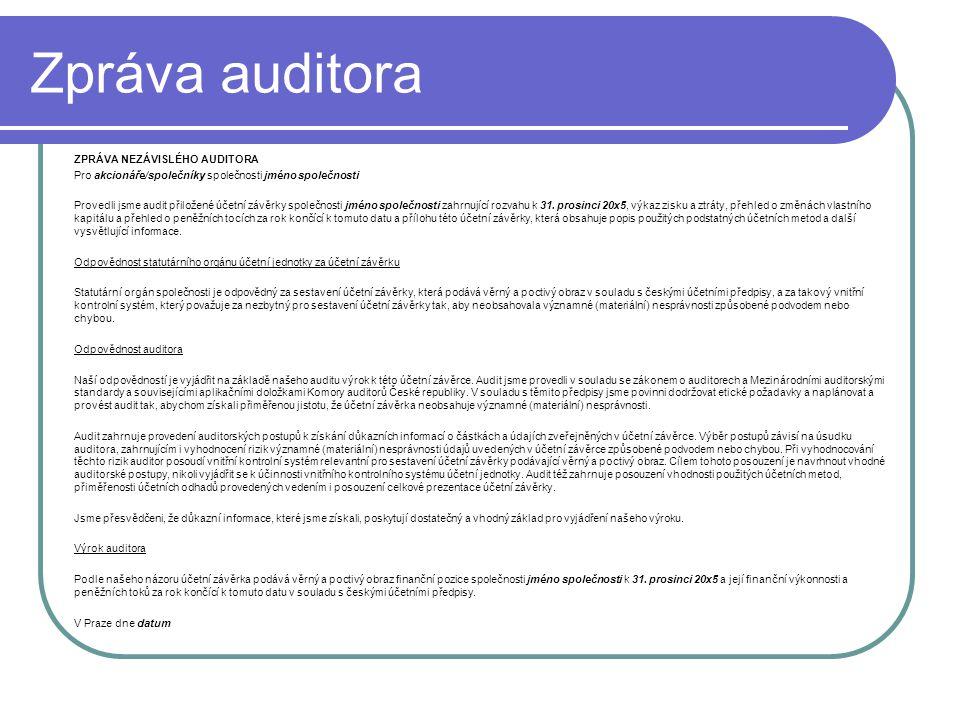Zpráva auditora ZPRÁVA NEZÁVISLÉHO AUDITORA