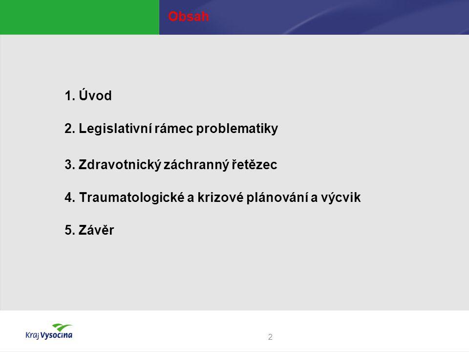 Obsah 1. Úvod. 2. Legislativní rámec problematiky. 3. Zdravotnický záchranný řetězec. 4. Traumatologické a krizové plánování a výcvik.