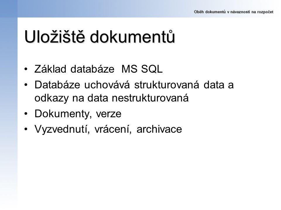 Uložiště dokumentů Základ databáze MS SQL