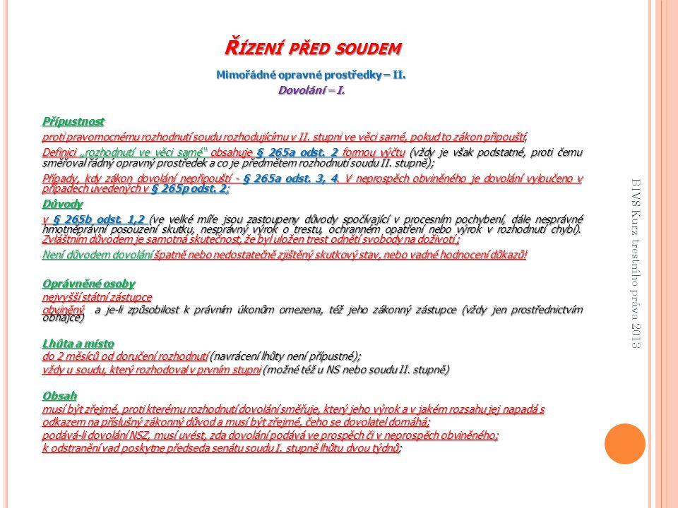 Řízení před soudem BIVS Kurz trestního práva 2013