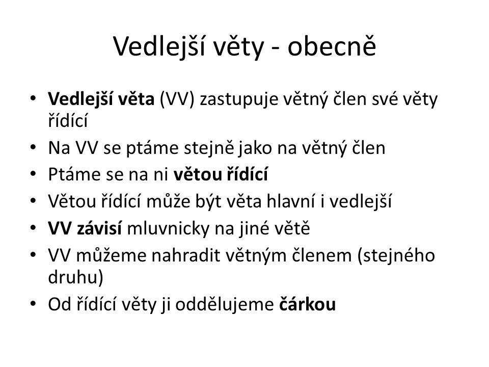 Vedlejší věty - obecně Vedlejší věta (VV) zastupuje větný člen své věty řídící. Na VV se ptáme stejně jako na větný člen.