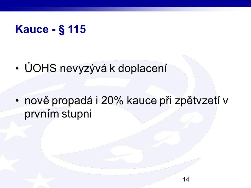Kauce - § 115 ÚOHS nevyzývá k doplacení nově propadá i 20% kauce při zpětvzetí v prvním stupni