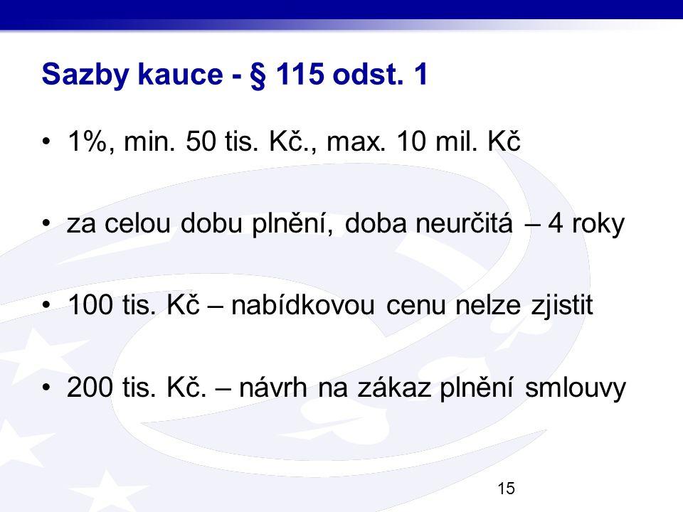 Sazby kauce - § 115 odst. 1 1%, min. 50 tis. Kč., max. 10 mil. Kč