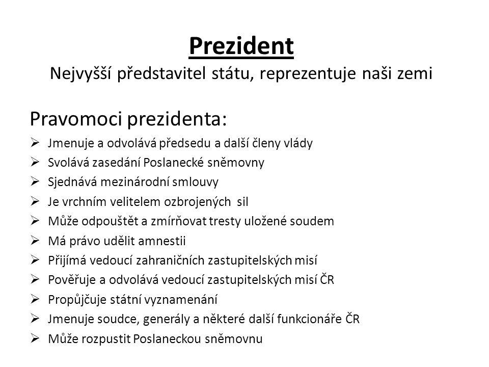 Prezident Nejvyšší představitel státu, reprezentuje naši zemi