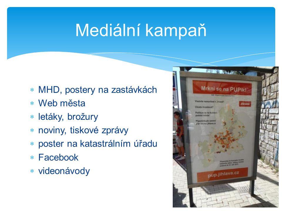 Mediální kampaň MHD, postery na zastávkách Web města letáky, brožury