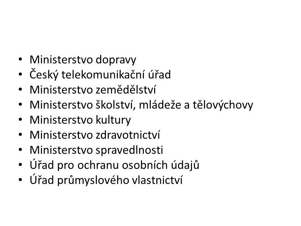 Ministerstvo dopravy Český telekomunikační úřad. Ministerstvo zemědělství. Ministerstvo školství, mládeže a tělovýchovy.