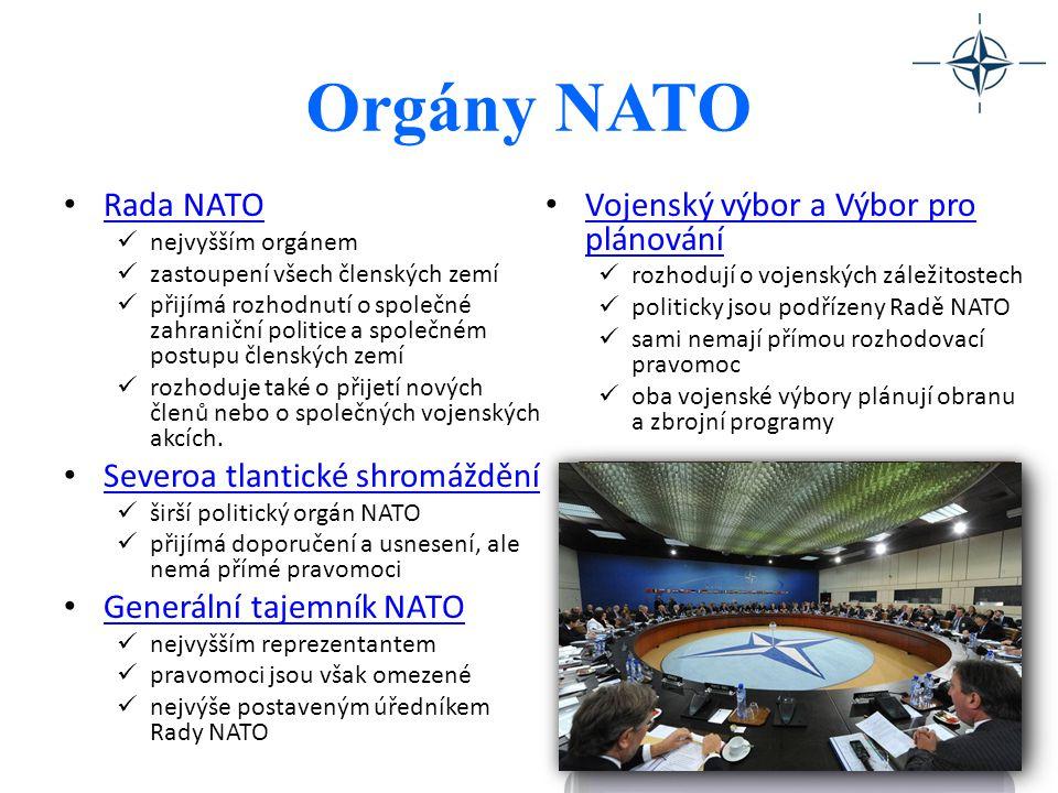 Orgány NATO Rada NATO Vojenský výbor a Výbor pro plánování