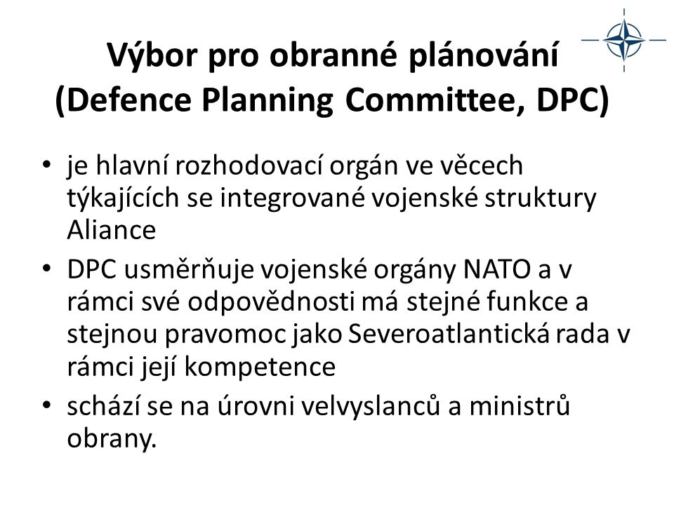 Výbor pro obranné plánování (Defence Planning Committee, DPC)